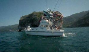 Sharktopus pones a yacht.